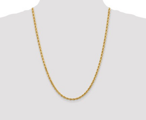Solid Diamond Cut Rope Chain 10k 4mm 24""
