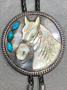VINTAGE NATIVE AMERICAN HORSE BOLO STERLING SILVER