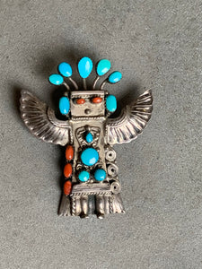 Sterling Turquoise Coral Thunderbird Pendant/Slide