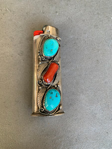Justin Morris Navajo Sterling Bic Lighter Holder Turquoise and Coral