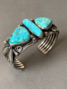 Gary Reeves Navajo Natural Turquoise Sterling Silver Cuff