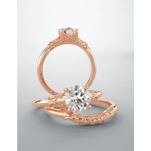 Floral Diamond Solitaire Engagement Ring 0.50 ct