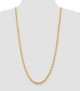 Solid Diamond Cut Rope Chain 10k 6mm 30""