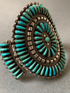 Turquoise Cluster NA Sterling Silver Cuff