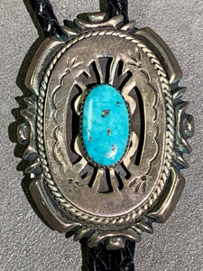 Wilson Begay Navajo Sterling Silver Turquoise Bolo
