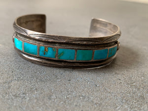 Blue Gem Turquoise sterling Silver Cuff Handmade