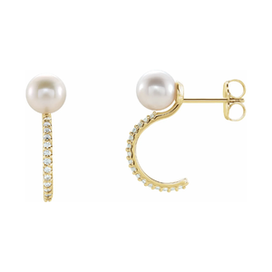 14K Gold Freshwater Pearl 1/6ctw Diamond Hoop Earrings