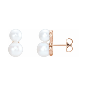 14K Gold Freshwater Pearl Ear Climbers