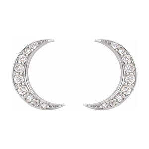 14K Gold 1/10 CTW Diamond Crescent Moon Earrings