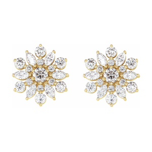 14K Gold 1 CTW Diamond Flower Earrings