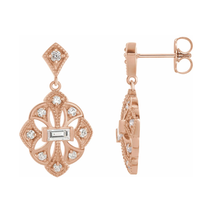 14K Gold 3/8ctw Diamond Vintage-Inspired Earrings
