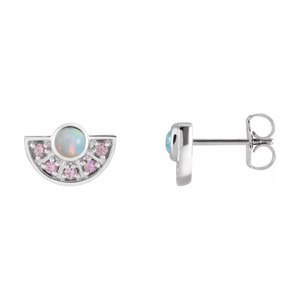 14K Gold Ethiopian Opal & Pink Sapphire Fan Earrings