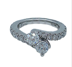 "1.00ctw 14kt white gold two-stone ""forever us"" diamond engagement ring"