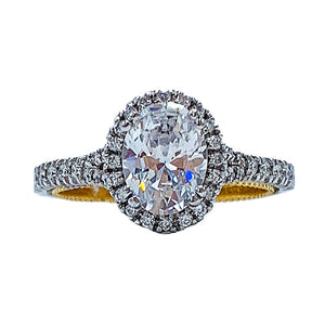 1.35 CTW 18kt Verragio white gold & yellow gold two tone diamond engagement ring w/ 1.00CT Oval center