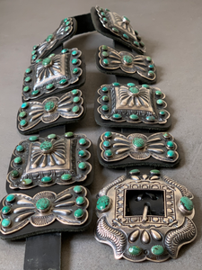 Kirk Smith Navajo Sterling Silver Turquoise Concho Belt