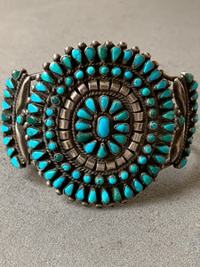 Turquoise Petit Point Zuni  Sterling Silver Cuff