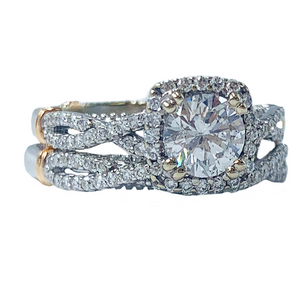 1.33 ctw Verragio White & Rose Gold Diamond Wedding Set