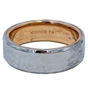Verragio Men's Collection wedding band in 14 karat white and rose gold
