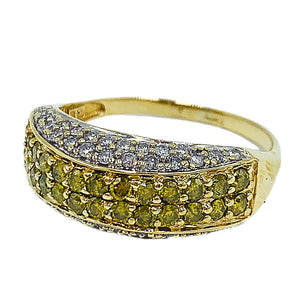 1.00ctw 14kt yellow gold diamond band w/ yellow & white diamonds