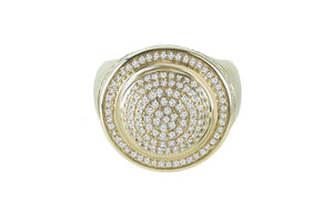 Men's Cluster Pave Diamond Ring 1.25 ctw 14k Yellow Gold