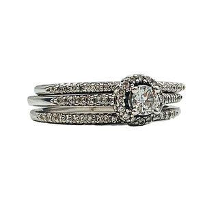 1/2 CTW 14kt white gold diamond bridal three-ring set