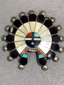 Zuni Multi-Inlay Sterling Silver Sun Face Buckle