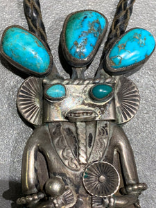 Navajo Kachina Sterling Silver Turquoise Bolo