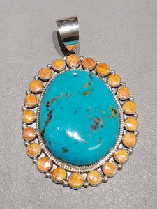 Leslie Nez Spiny Oyster Turquoise Pendant