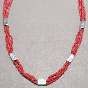 Coral Sterling Silver Beaded Necklace - Handmade Native American
