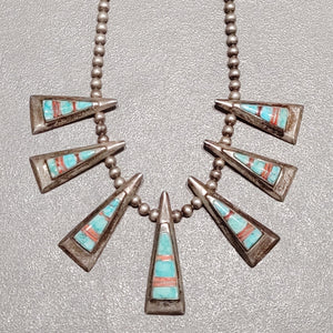Calvin Begay Navajo  Turquoise-Spiny Oyster Sterling Silver  Necklace - Handmade Native American