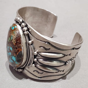 Aaron Toadlena Navajo Sterling Silver Turquoise Cuff - Handmade Native American