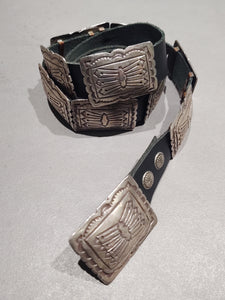 Sterling Silver Navajo Concho Belt - Square Sterling - Handmade Native American