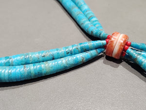 Lupe Lovato Kewa Kingman Turquoise Spiny Oyster Jaclas Necklace - Handmade Native American