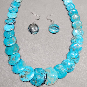 Joe and Joan Garcia Kewa Turquoise Necklace-Earrings Set - Handmade Native American