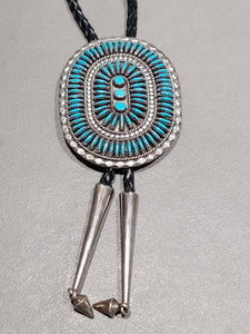 Needlepoint Turquoise Sterling Silver Bolo - Handmade Native American