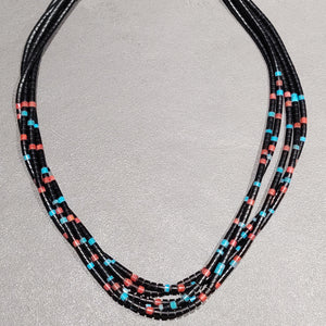 Ronald Chavez Kewa Sterling Silver Turquoise Bead Necklace - Handmade Native American