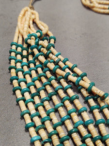 Marilyn Moquino Kewa Melon Shell Turquoise  10-Strand Necklace - Handmade Native American