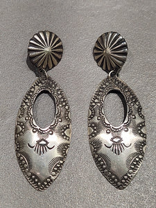 Vincent Platero Navajo Sterling Silver Earrings - Handmade Native American