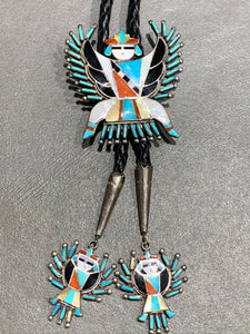 DELPHINE CACHINI ZUNI INLAY STERLING SILVER BOLO