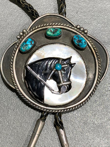 VINTAGE NATIVE AMERICAN INLAY HORSE BOLO STERLING SILVER