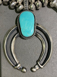 CHRIS HALE NAVAJO TURQUOISE STERLING SILVER SQUASH AND EARRING SET