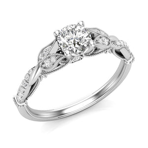 Petite Floral Diamond Engagement Ring 14 KT White Gold .75 Carat Total Weight With 2/3 ct Diamond Center