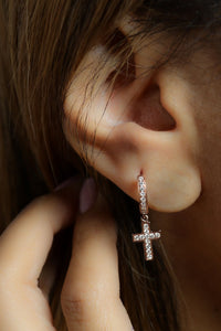 0.55 ctw Diamond Cross Hoop Earrings