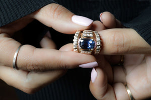 GIA certified 6.8 ct Sapphire and Diamond Three-Ring Set