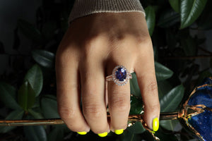 GIA Certified 3.28 ct Tanzanite and Diamond Ring