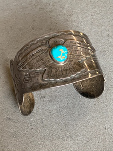 Maisels/Fred Harvey Era Sterling Turquoise Cuff