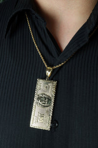 Large $100 Dollar Bill Pendant 10k