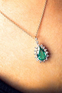 GIA Certified 1.82 ct Beryl Emerald and Diamond Pendant