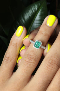 GIA Certified Natural 1ct Emerald and Diamond Ring
