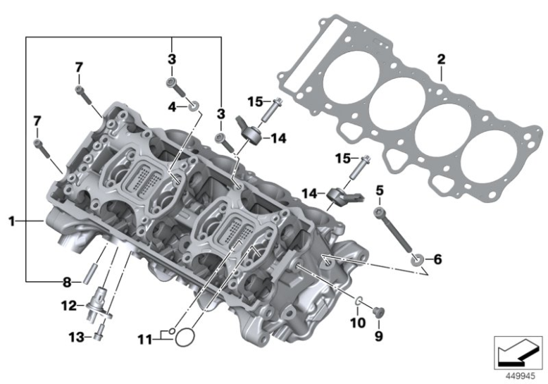 BMW S1000RR CYLINDER HEAD GASKET - 1.02MM 1-LOCH (2015-) Part Number: 11128556425